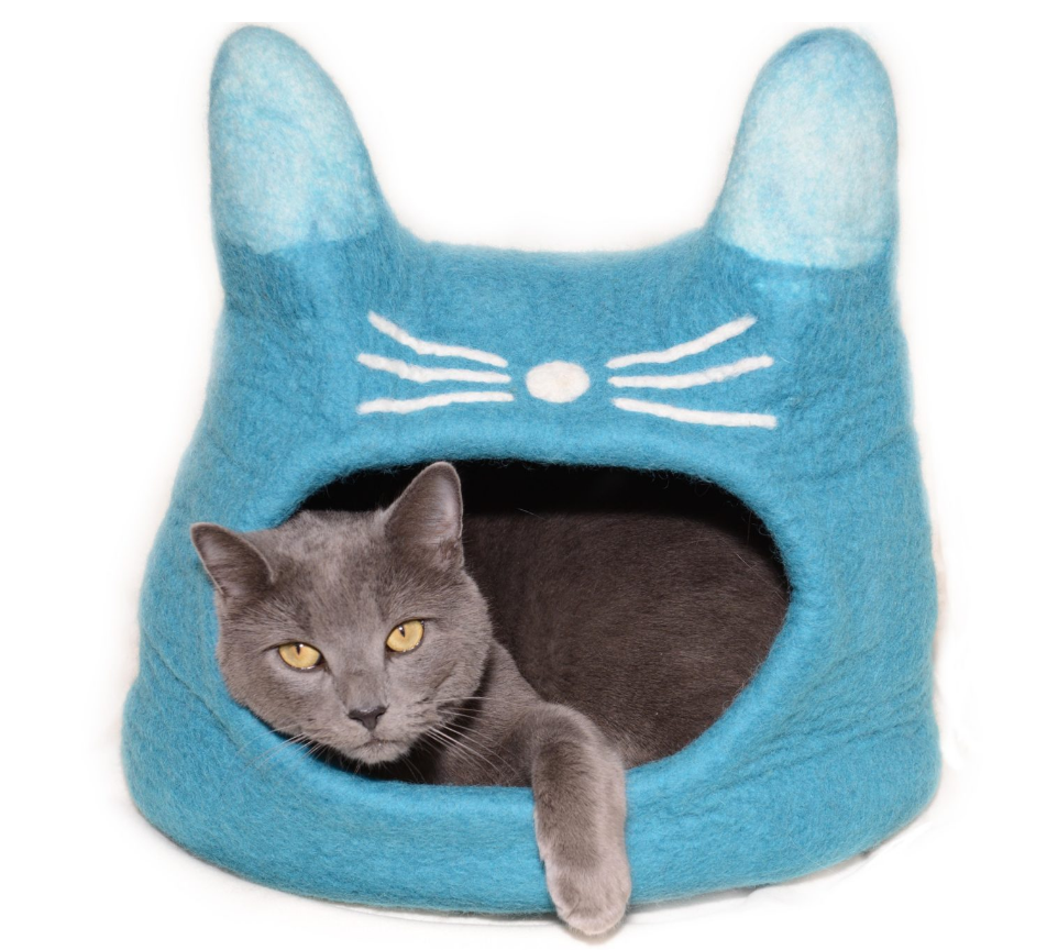 Felted Turquoise CAT Cat Cave