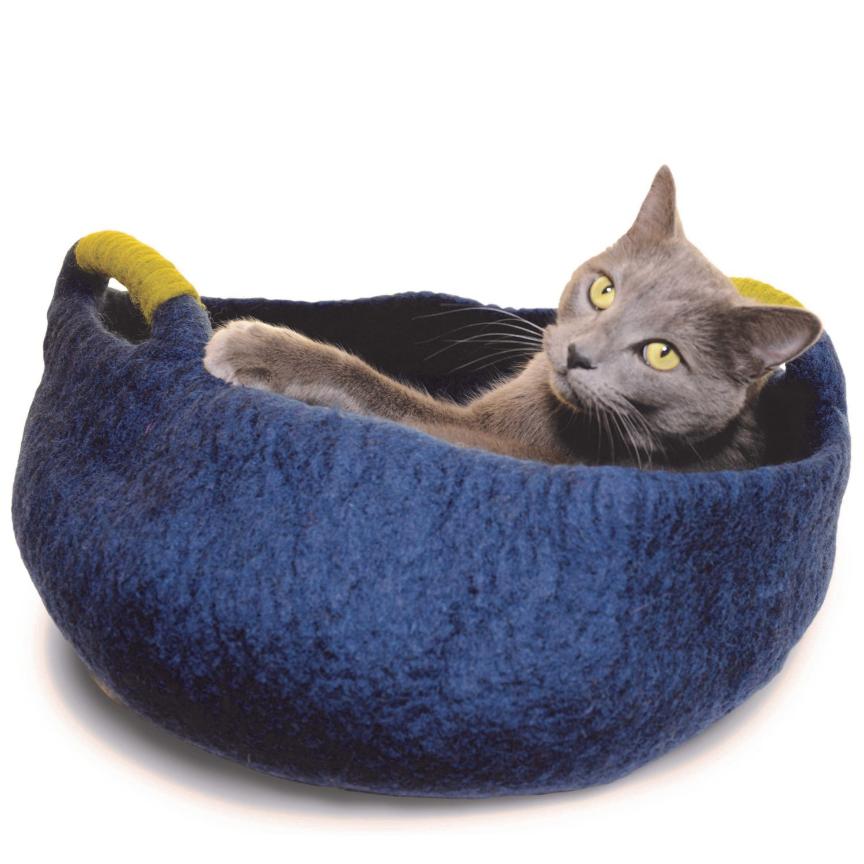 Felted Pet Basket Cat Cave w/ Handles