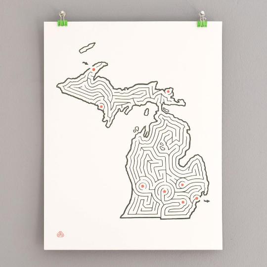 Michigan Maze 14x18 Print