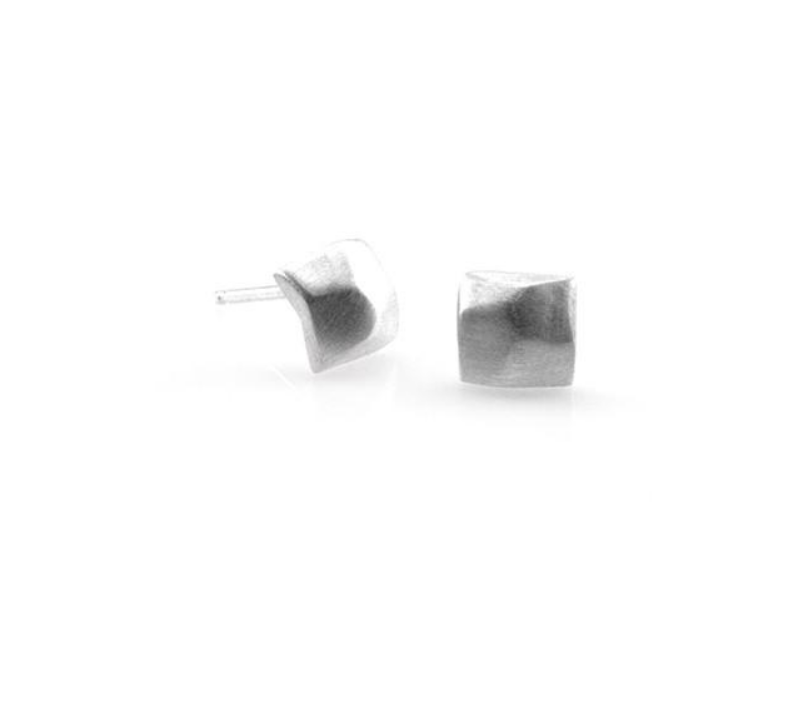 Faceted Silver Post Earrings