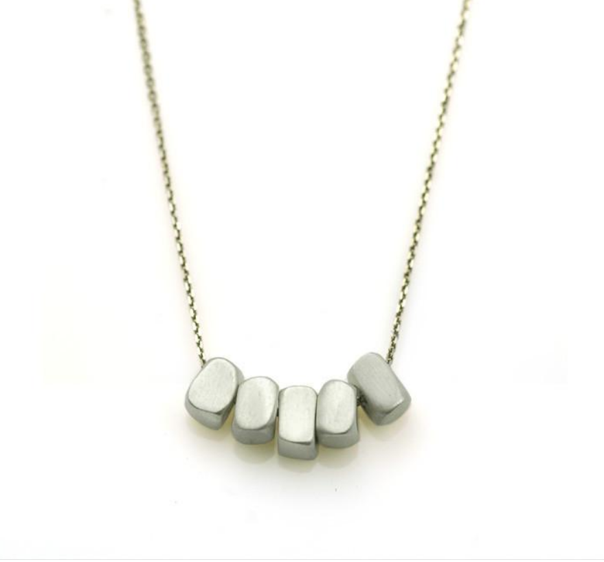 Five Cubes Sterling Silver Necklace