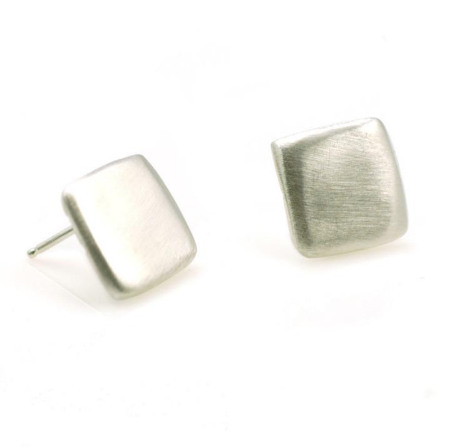 Square Silver Post Earrings