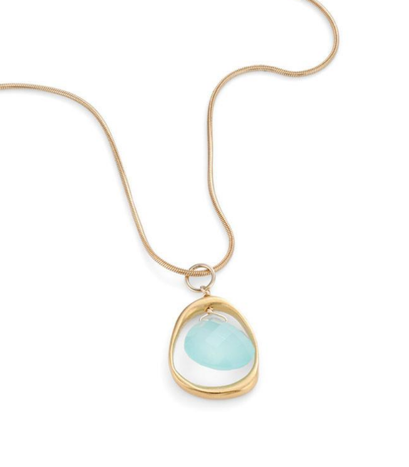 Open Circle Chalcedony Vermeil Necklace