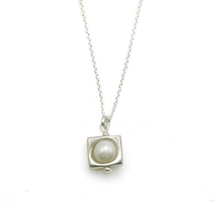 Open Square Pearl Silver Necklace