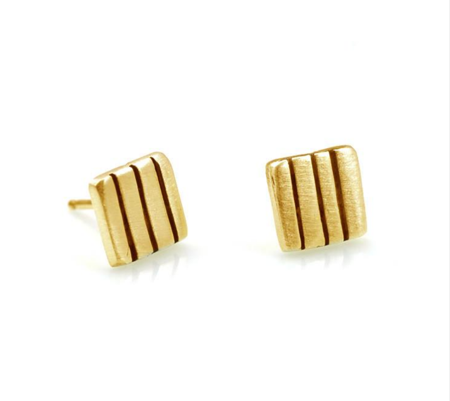 Three Line Post Vermeil Earrings