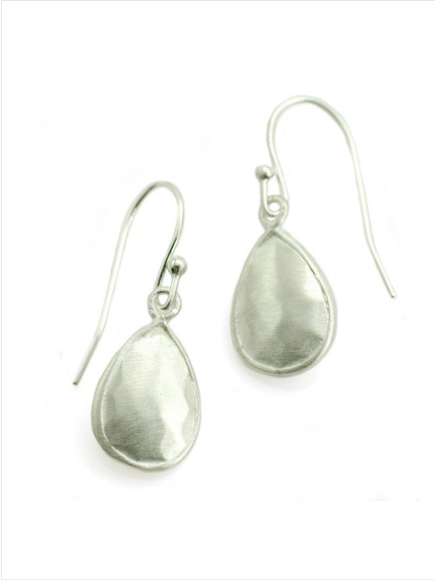 Faceted Tear Drop Silver Earrings