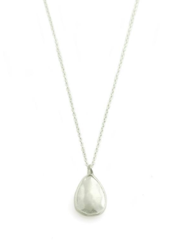 Faceted Tear Drop Silver Necklace