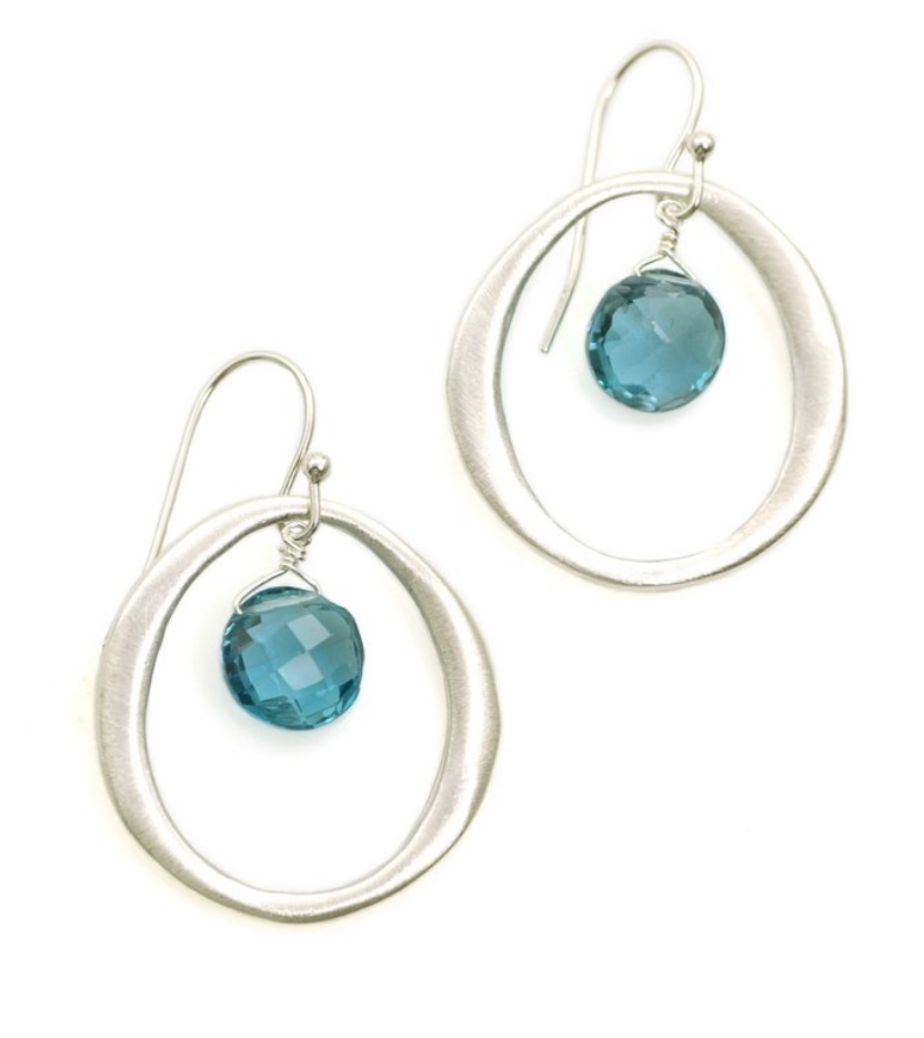 Circle Blue Topaz Silver Earrings