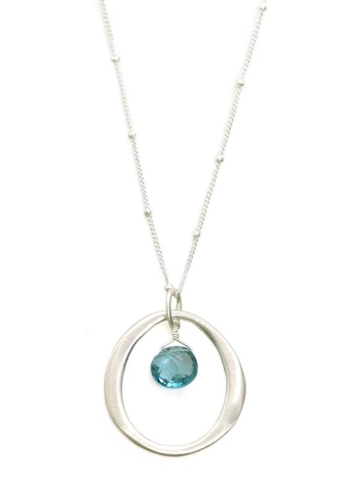 Circle Blue Topaz Silver Necklace