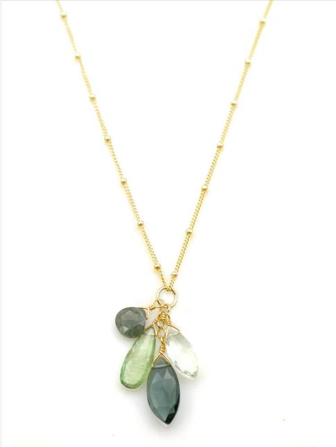 Natural Stone & Vermeil Necklace