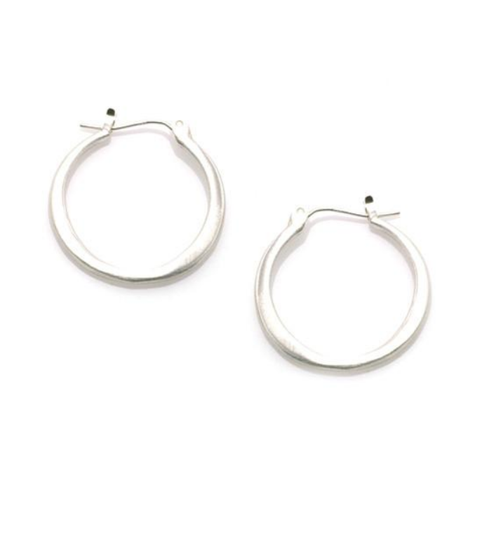 Medium Round Hoop Silver Earrings