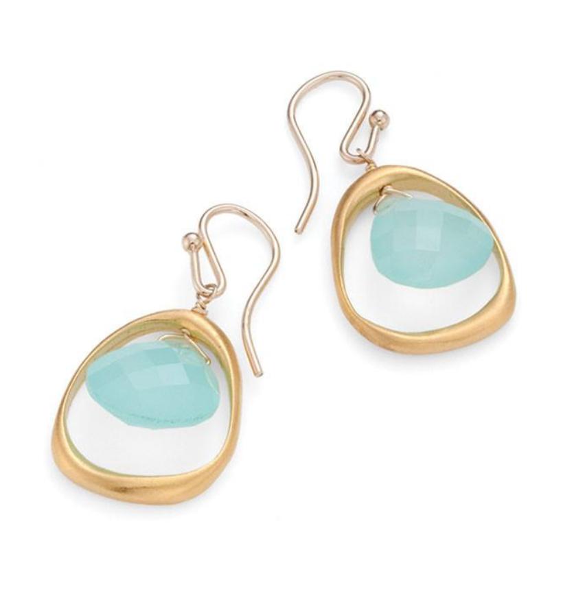 Open Circle Chalcedony Vermeil Earrings