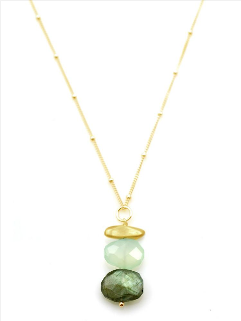 Pebble Labradorite Chalcedony Vermeil Necklace