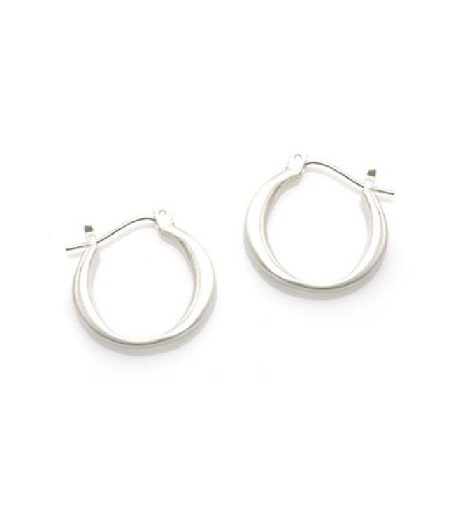 Round Brushed Sterling Hoop Earrings