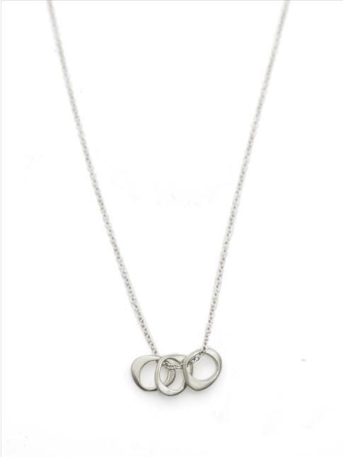 Three Tiny Circles Silver Necklace - Hope