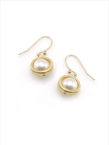 Circle Pearl Vermeil Earrings
