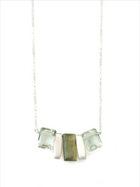 Bars Lab & Grn Amy SS Necklace