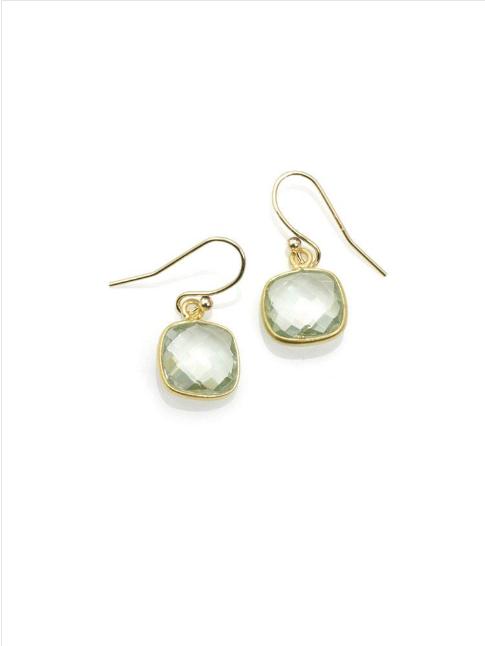 Square Green Amehtyst Vermeil Earrings