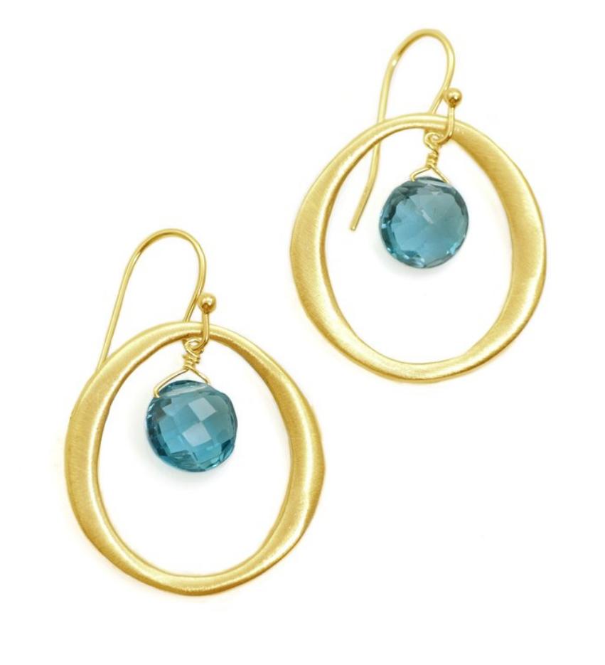 Circle Vermeil & Bl Topaz Earrings