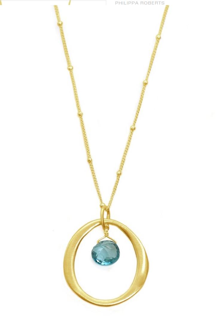 Circle Blue Topaz Vermeil Necklace