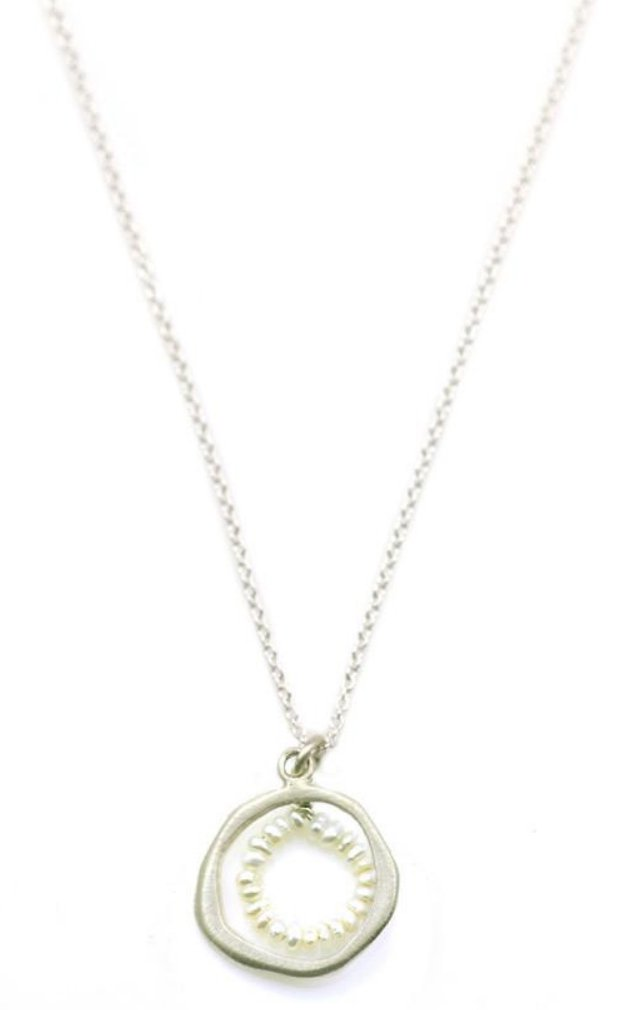 Circle Pearls Silver Necklace
