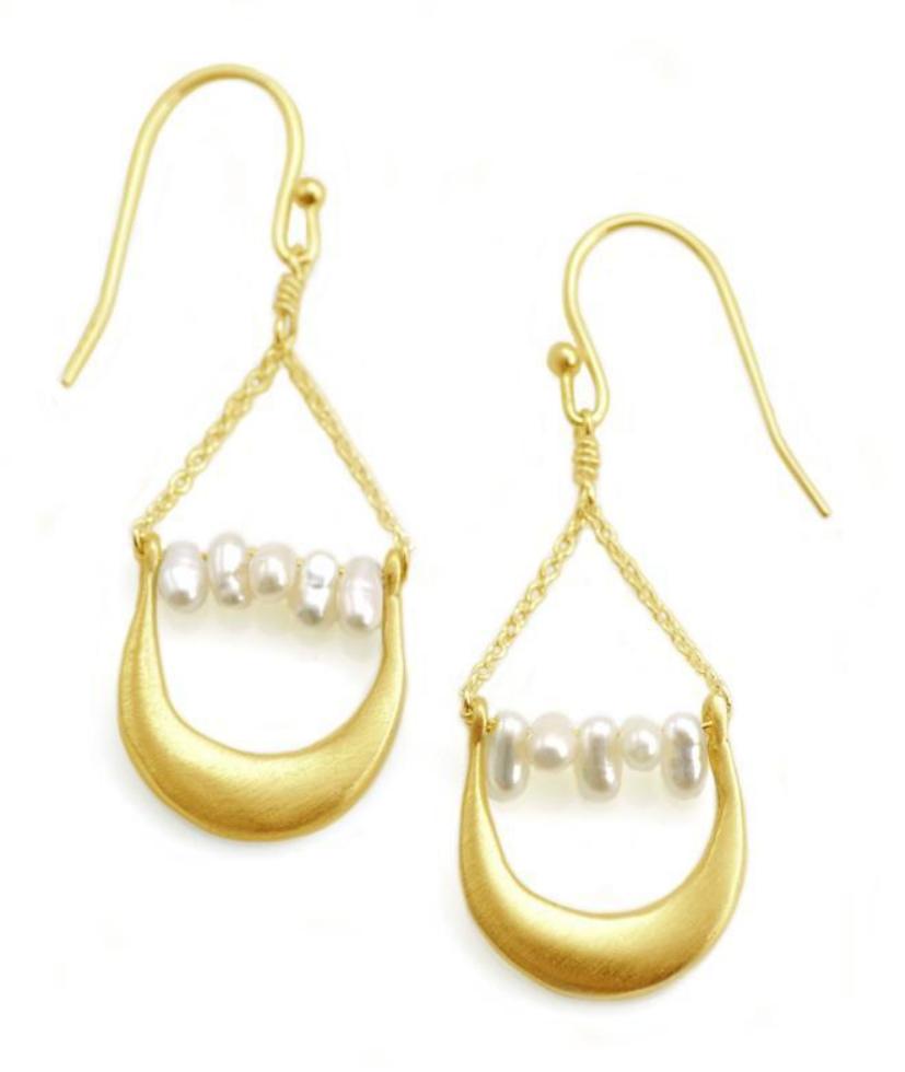 Crescent Pearl Vermeil Earrings
