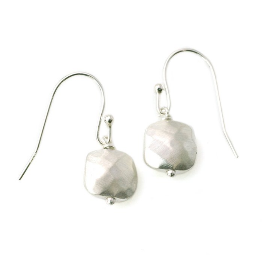 Faceted Sterling Silver Drop Earrings