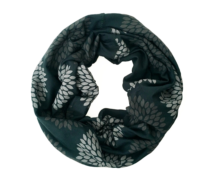 Gray/Emerald Flowers Mini Infinity Scarf