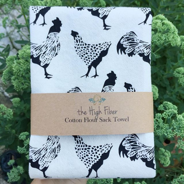 Chickens Cotton Towel in Black