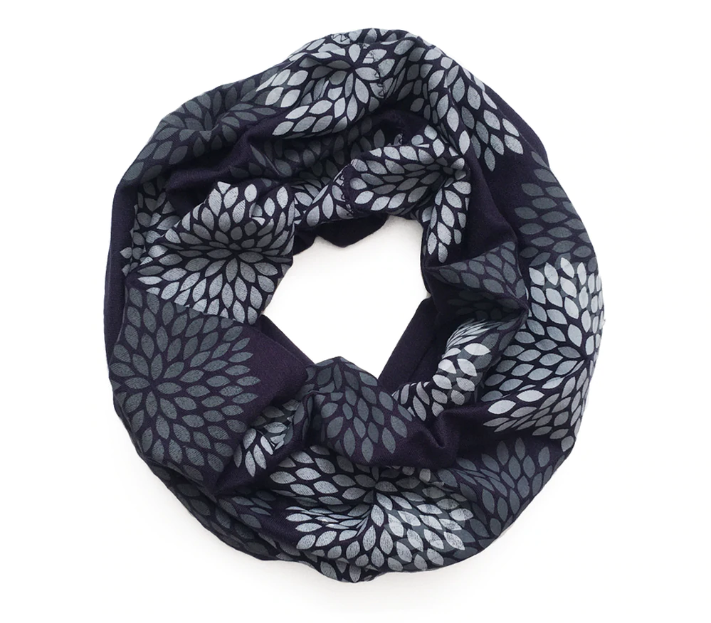 Navy Double Flowers Infinity Scarf