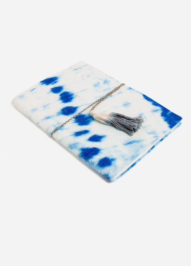 Indigo Diag Tie Dye Velvet Journal