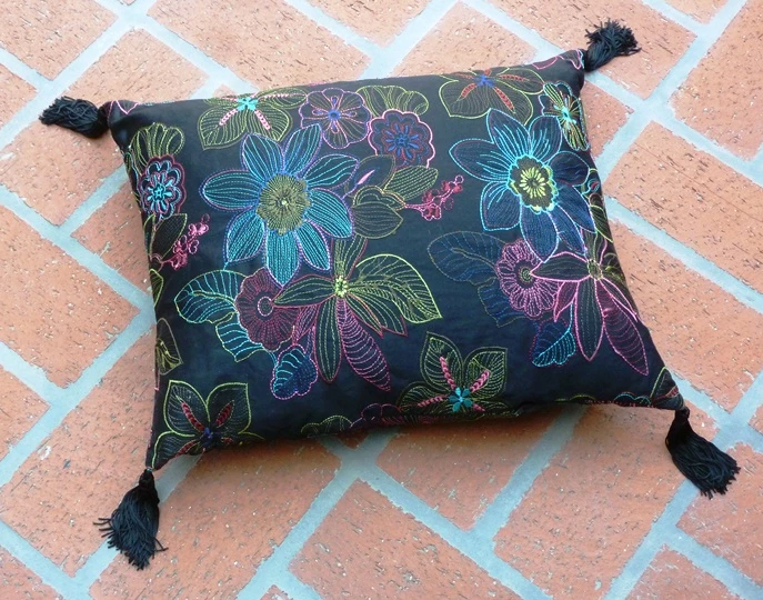 Embroidered Down Floral Pillow