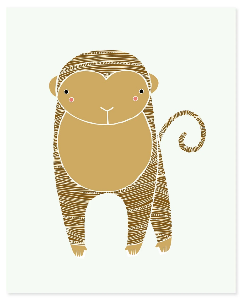 Safari Monkey Art Print
