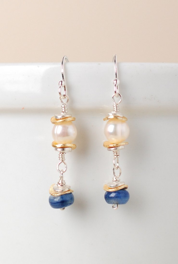 Seaside Pearl Kyanite Dangle Earrings