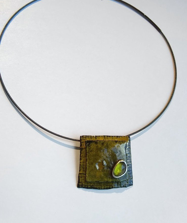 Olive Enamel Pendant