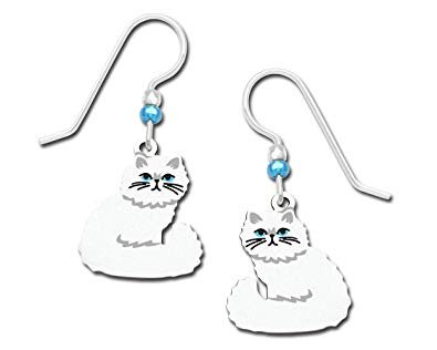 White Persian Cat Earrings
