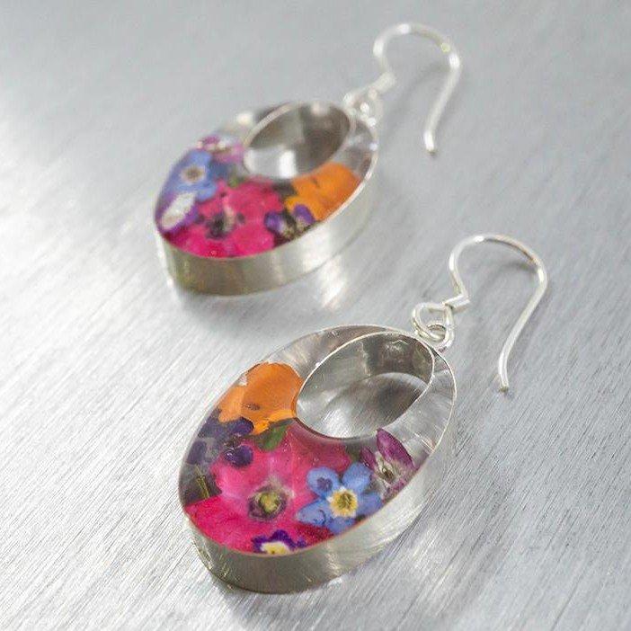 Flora Oval Window Hook Earrings