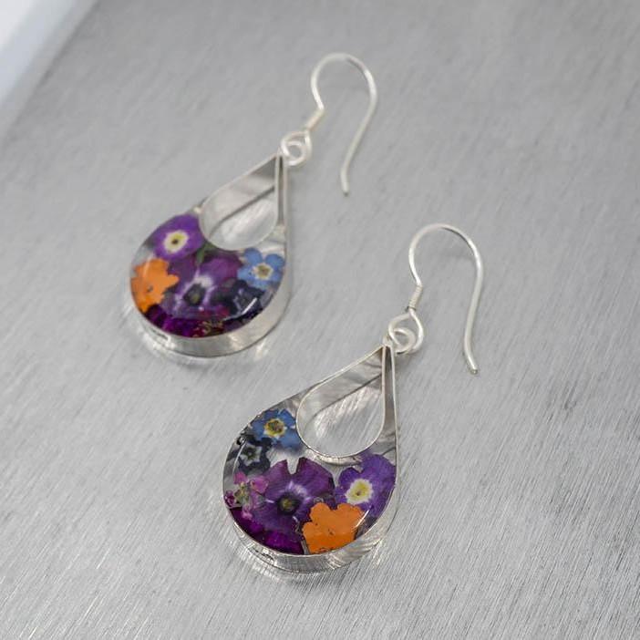 Flora Teardrop Window Hook Earrings
