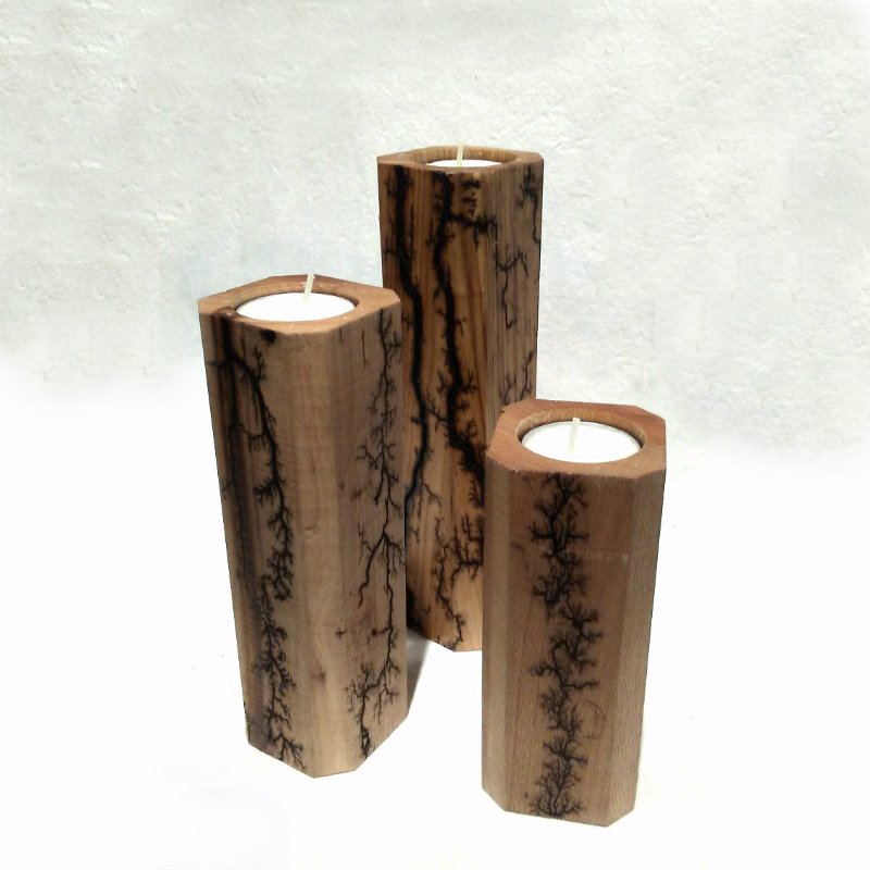 Oak Fractal Burn Candle Holder Set