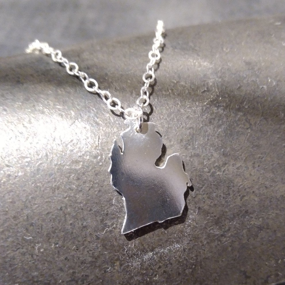 Michigan LP Solid Sterling Necklace