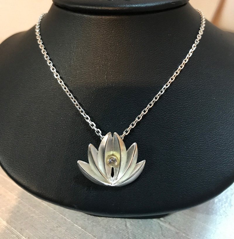 Lotus and White Sapphire Necklace