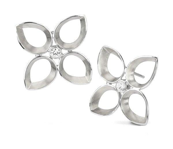 Quatrefoil Earrings in Sterling & White Sapphire