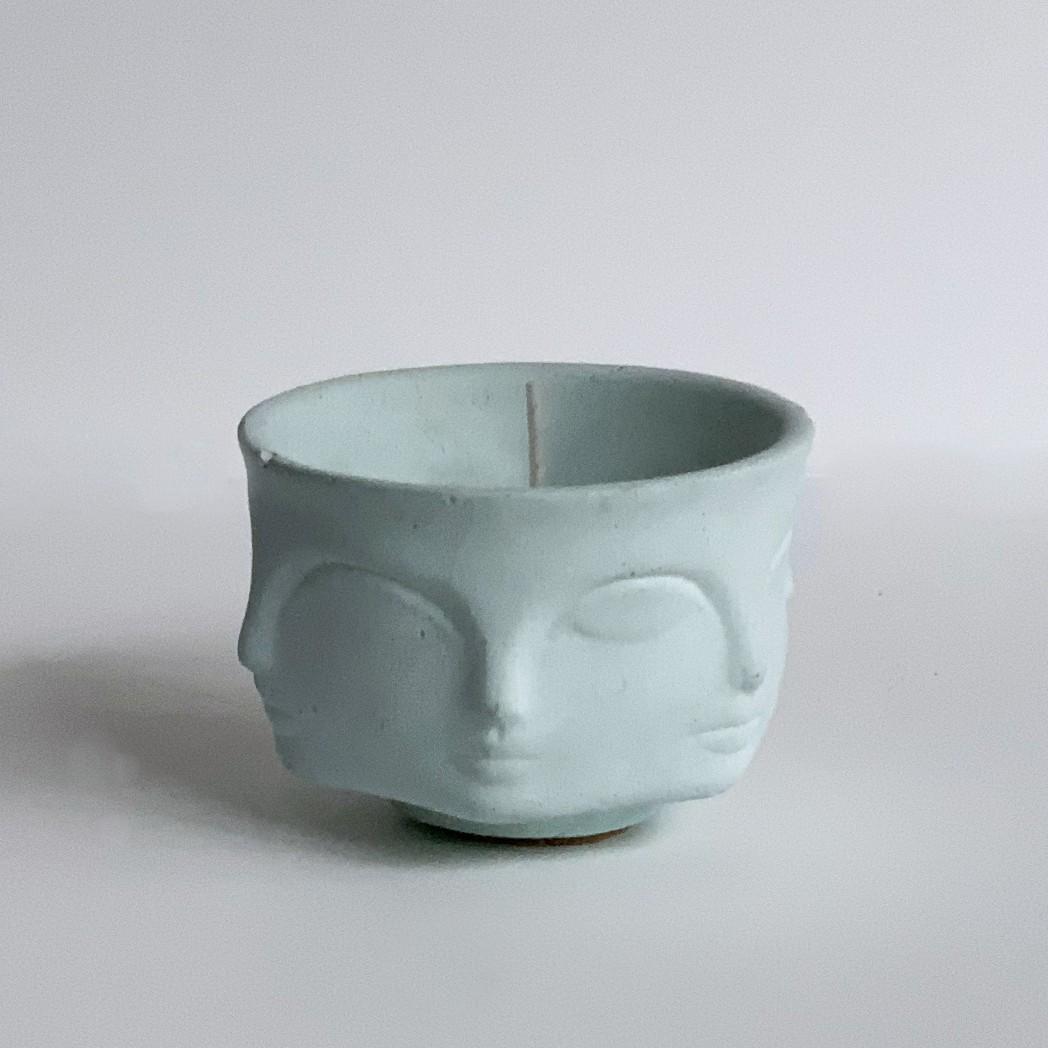 Faces Concrete Candle