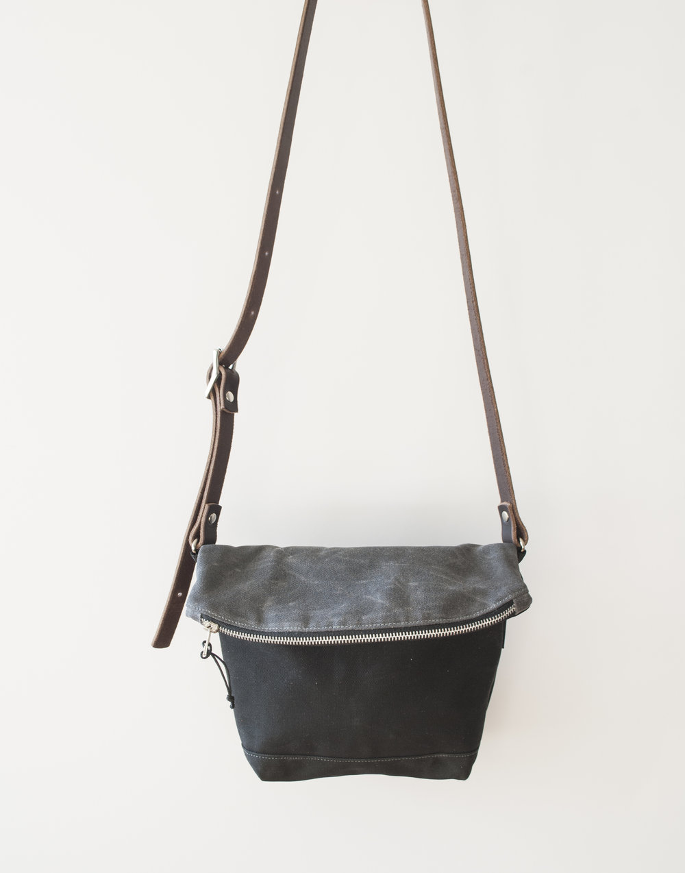 Fold Down Char/Blk Crossbody Bag