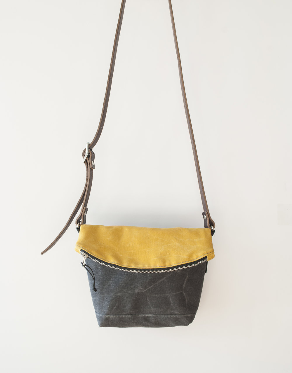Fold Down Yellow/Char Crossbody Bag