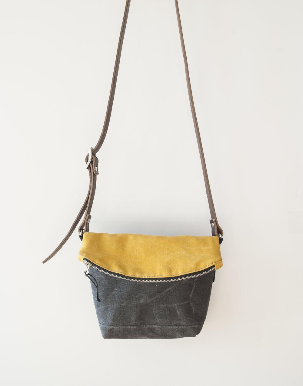 Fold Down Yellow/Char Crossbody Bag
