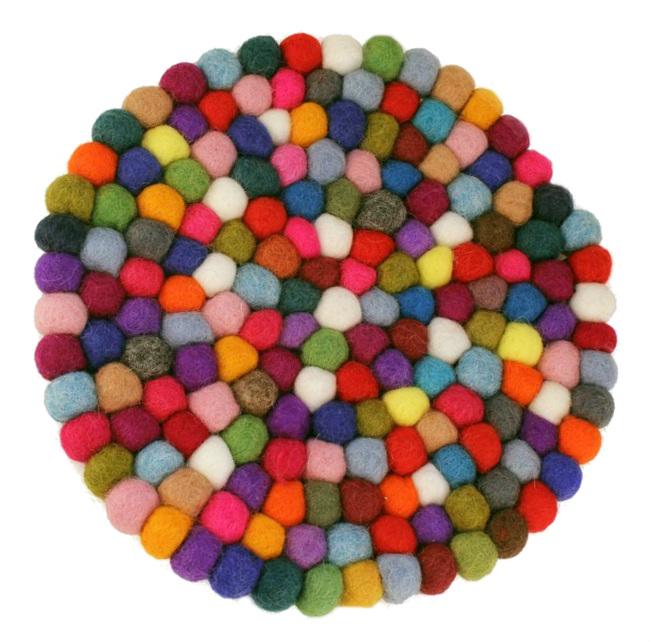 Multi-Color Felt Ball Trivet
