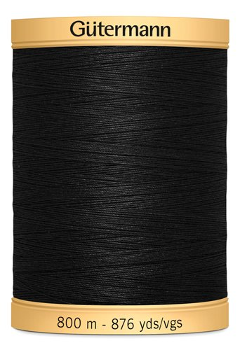 Gutermann 800m 100% Cotton Black Col 5201