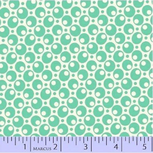 Aunt Grace - Turquoise Circles White Yardage