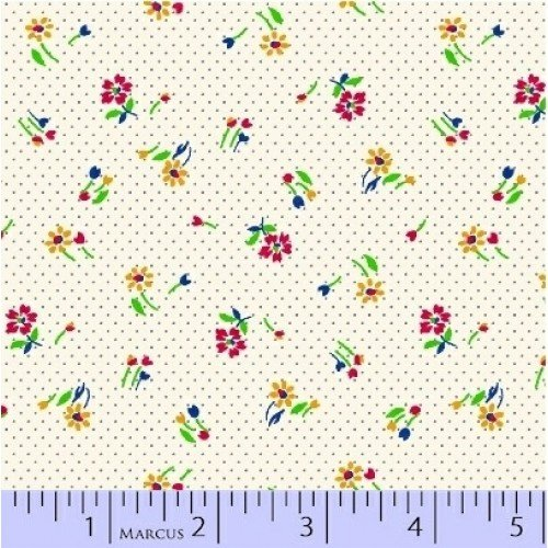 Aunt Grace - Mult Flowers White Yardage